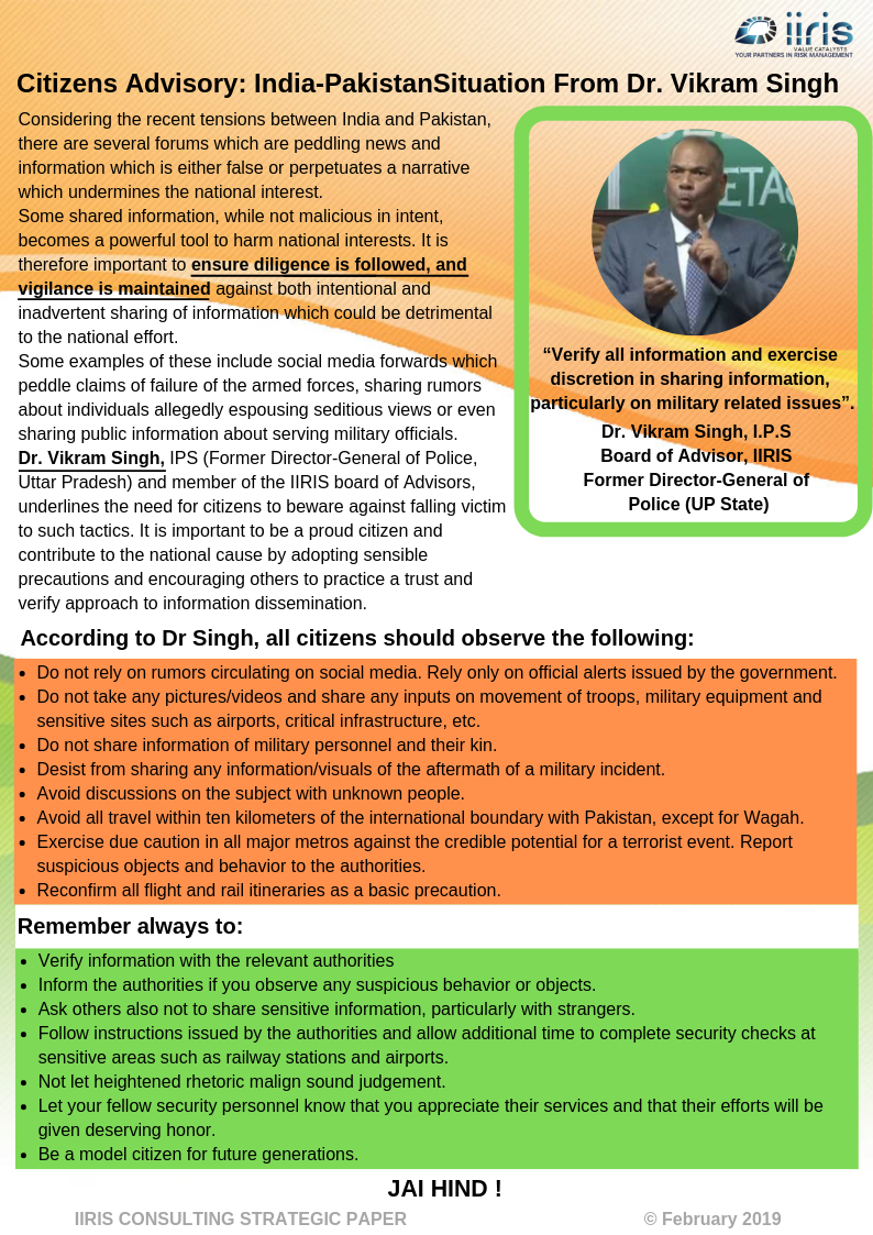 Citizens Advisory: India-Pakistan Situation From Dr. Vikram Singh